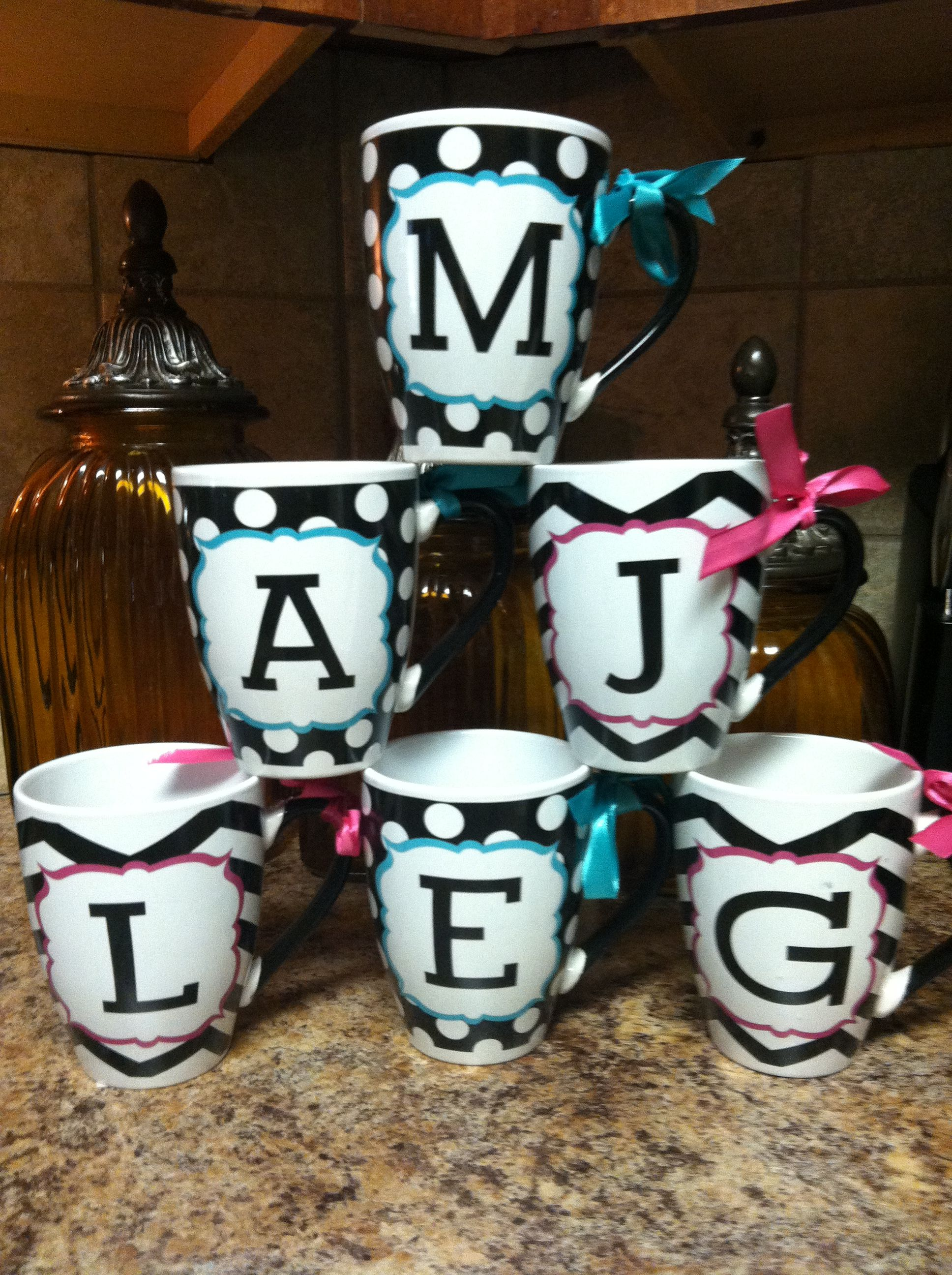 Initial Mugs.   Drink your coffee in style!  www.facebook.com/pages/Sassy-Decor-and-More-LLC/365352106761