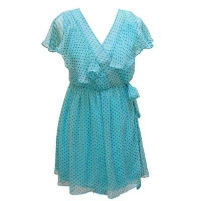 French Flutter Polka Dot Turquoise Wrap Dress Small