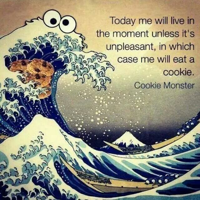 Today me will love in the moment u less it's unpleasant,  in which case me will eat a cookie. Cookie Monster.