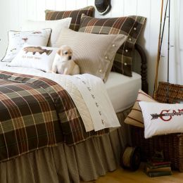 Bedding Cabin Fever!  Rugged and versatile with a distinctive rustic charm perfect for lovers of the great outdoors, the Deerfield collection