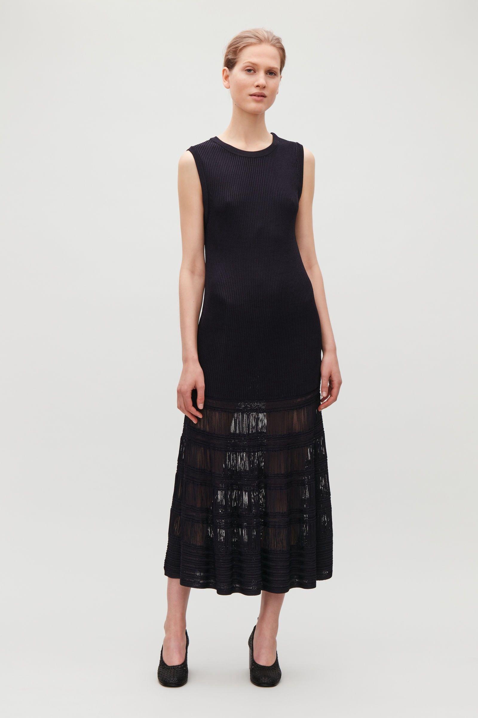 690134b10d7f Cos Long Laddered Knit Dress - Midnight Blue XS   Products   Dresses ...