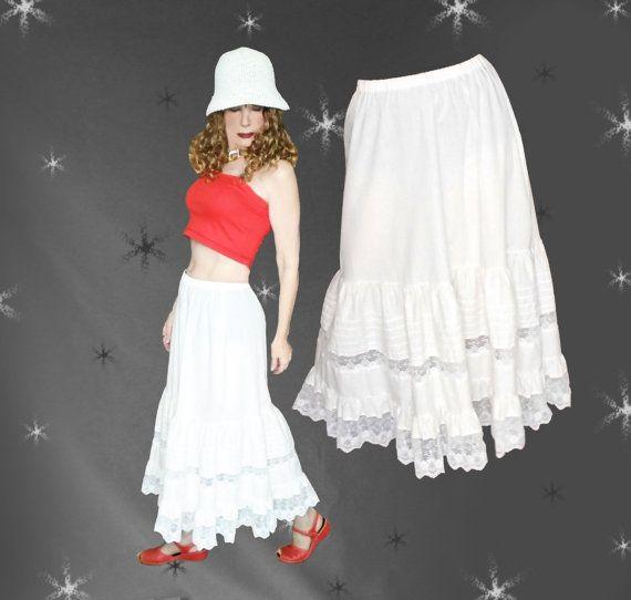 Vintage Maxi Petticoat Skirt  80s Lacy by LunaJunctionVintage