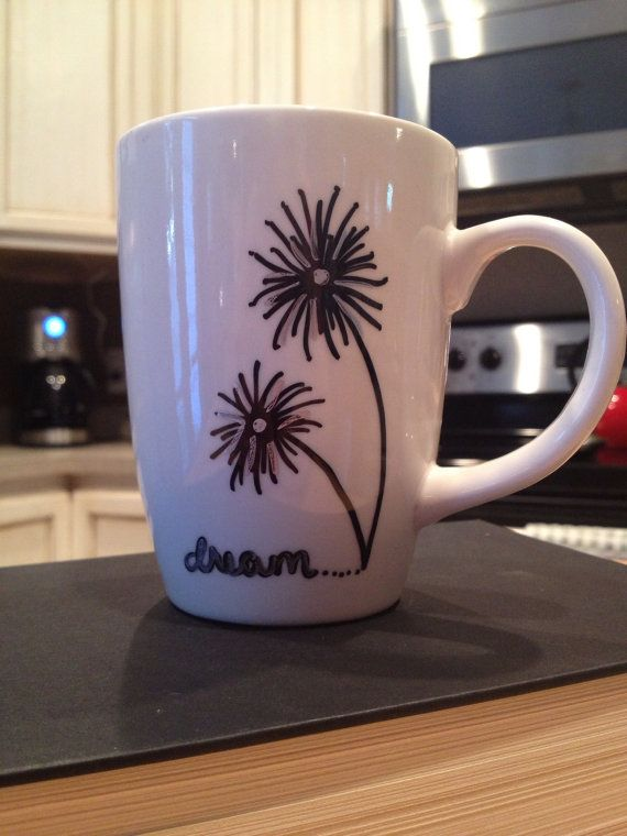 Very Easy Dandelion Design. This Could Be Done With A Sharpie Then Put In A  Regular Home Oven. Hand Painted Coffee Mug