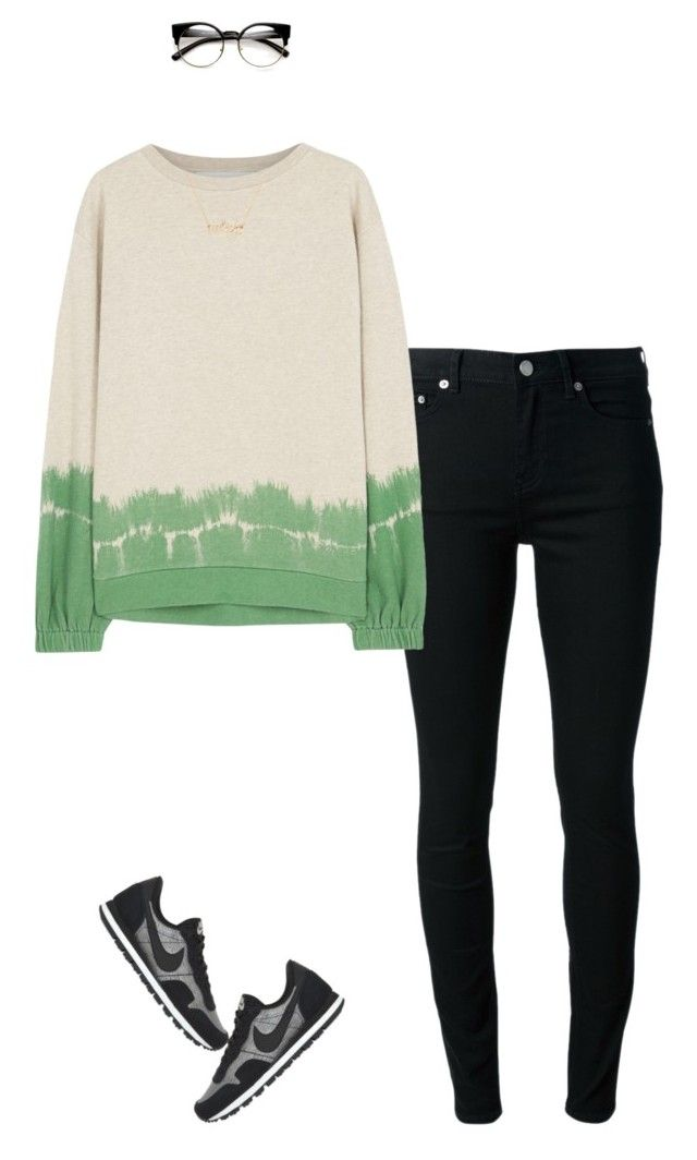 """""""Jeans and Sneakers"""" by joelleduffin ❤ liked on Polyvore featuring BLK DNM, STELLA McCARTNEY, Kate Spade, NIKE, women's clothing, women, female, woman, misses and juniors"""