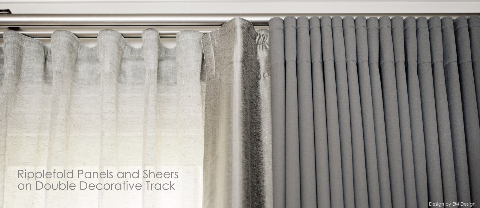 custom drapery curtain panels with ripplefold sheers and ripplefold drapery  panels on metal pewter decorative hardware in mississauga living room