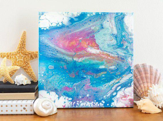 12x12 acrylic pour painting fluid art tropical island on modern acrylic paintings for living room id=14275