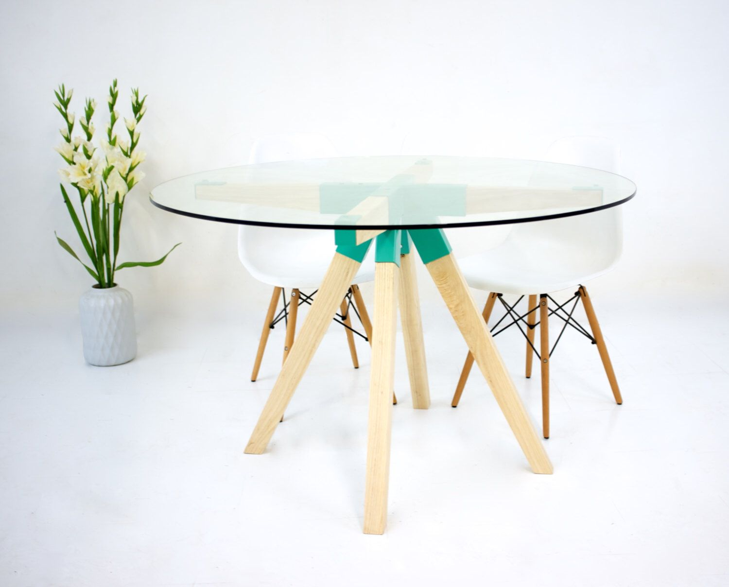 Round Dining Table, Glass Dining Table, Dining Table, Round Glass ...