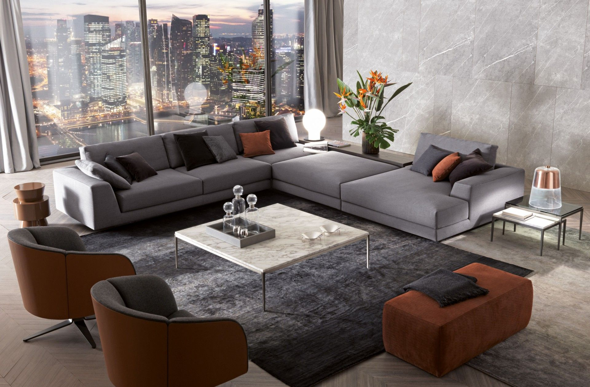 The C Shaped Argo Sofa Fills The Space With Its Fully Customisable Set Up Thanks To A Su Contemporary Decor Living Room Living Room Sofa Set Luxury Living Room C shaped living room
