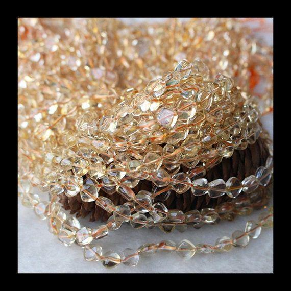 40CM Natural Yellow Quartz Gemstone Square Beads by Girljewelrybox