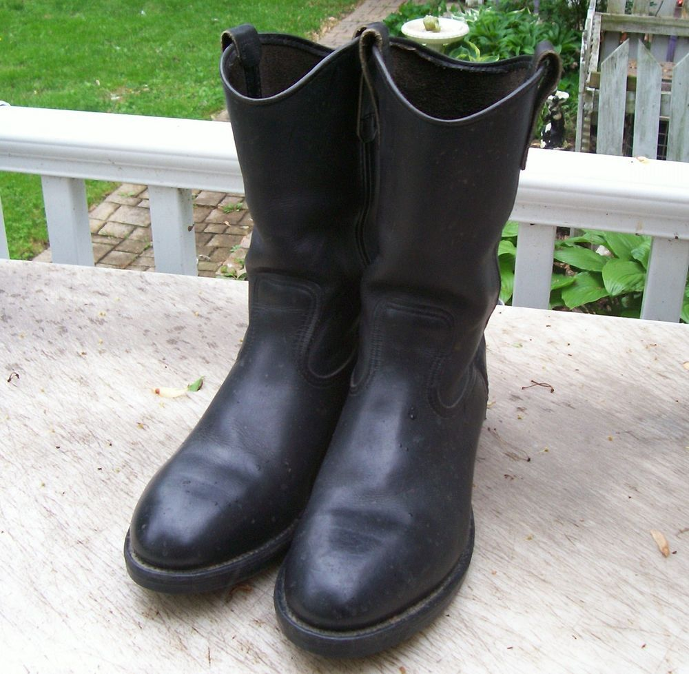 Vintage Red Wing Black Leather Boots