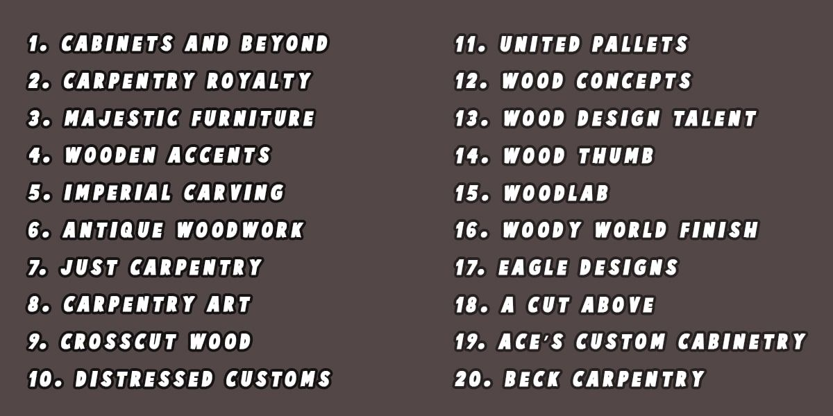 470 Most Creative Woodworking Business Names Ideas Woodworking Names Business Names Cute Business Names