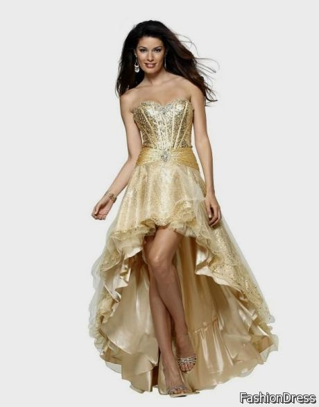 High Low Pageant Dresses Gold