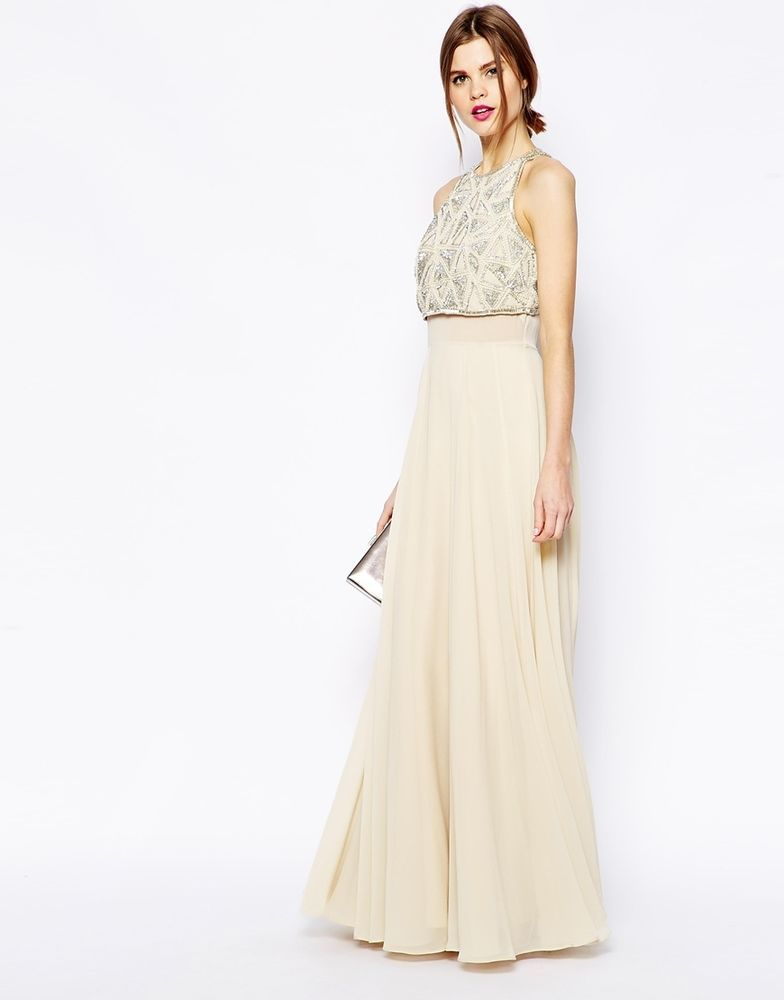 539976f4c49 ASOS Maxi Dress With Embellished Crop Top (Nude) UK/10 EU/38 RRP £95.00