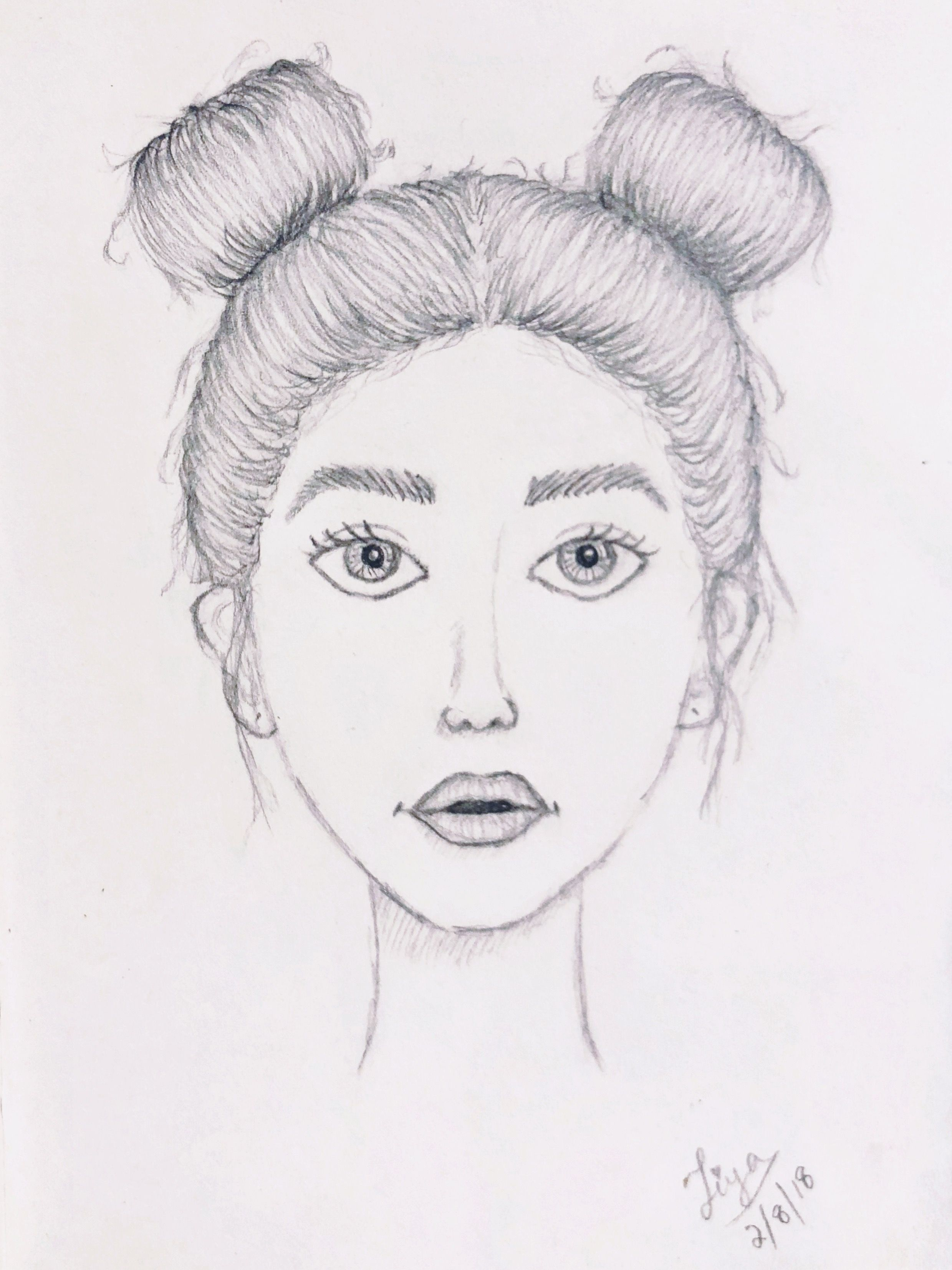 Character Design Sketch Girl Face Features With Space Buns Hairstyle Hair Drawing This Took Me A Wh Character Design Sketches Design Sketch Character Design