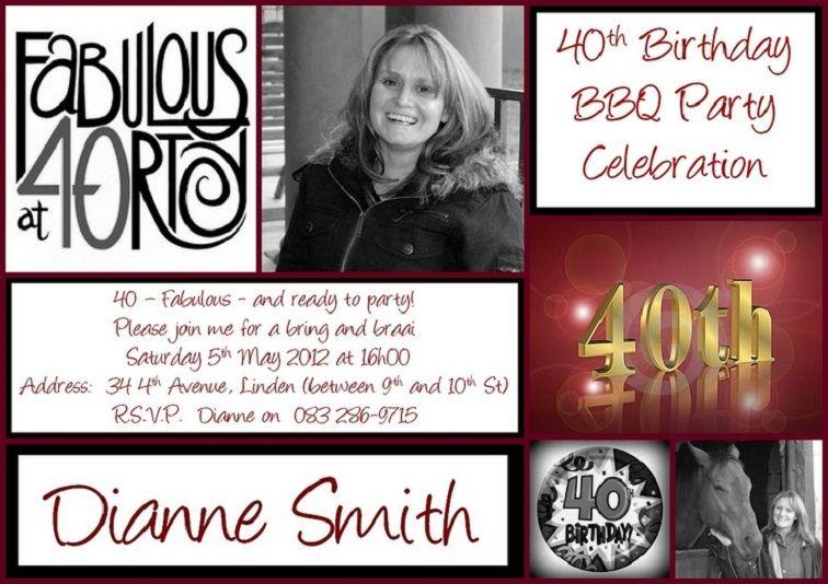 40th Birthday Invitations Female