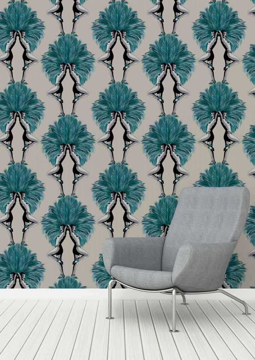 Photo of Showgirls Wallpaper – Teal & Taupe – Graduate Collection