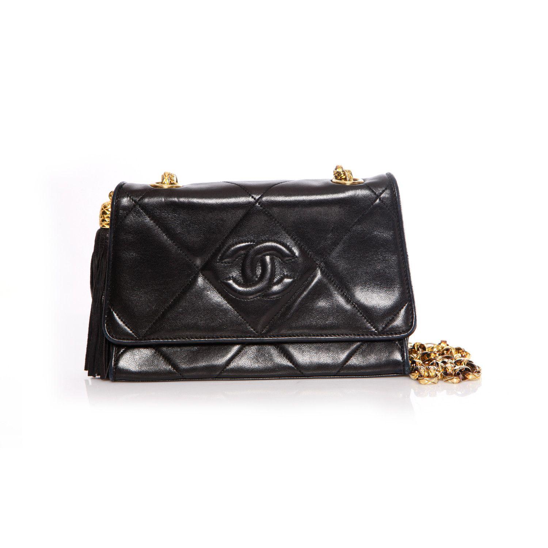 Chanel Vintage Black Lambskin Quilted Shoulder Bag With Tassel And Gold Hardware Unique Designer Piec In 2020 Quilted Shoulder Bags Lambskin Black Leather Handbags
