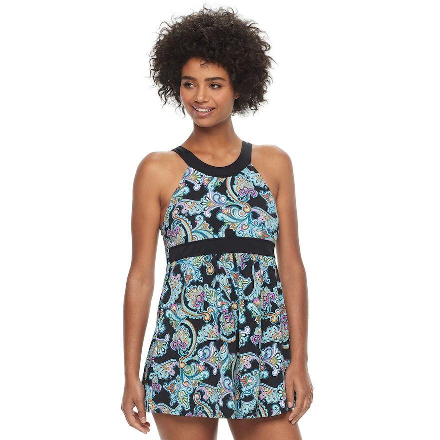 699b9ba67fd Women s A Shore Fit Hip Minimizer One-Piece Swimdress   Semi High-Waisted  Bottoms Set