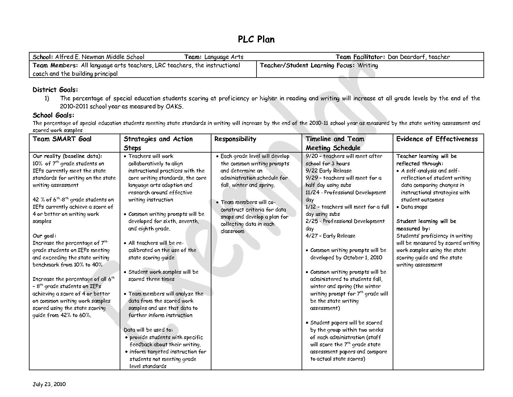 Examples Smart Goals Worksheet For Students