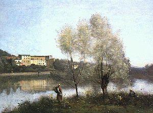 jean-baptiste-camille corot, ville d'avray, 1865, oil 14x26in