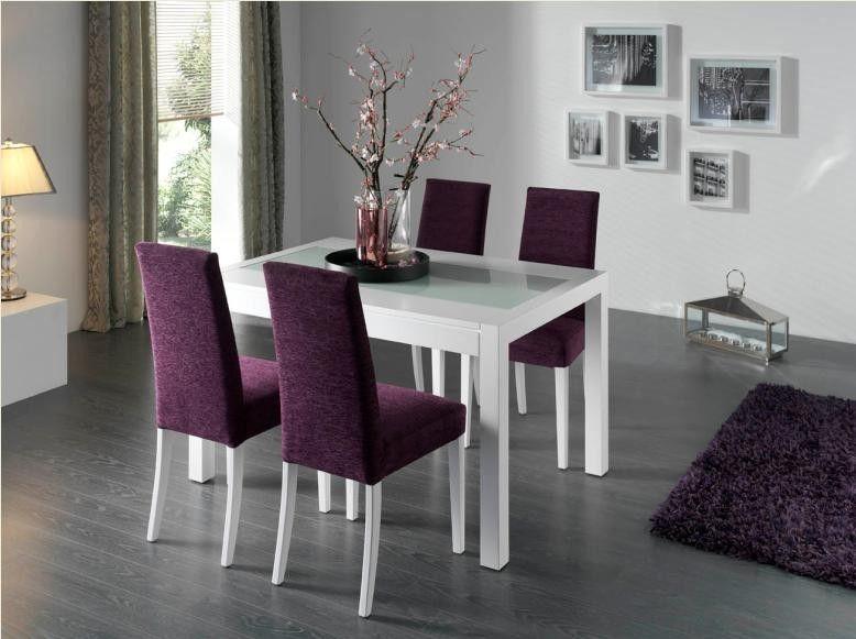 Mesa de comedor moderna laca blanca zaira mesas de for Comedor de muebles de madera blanca