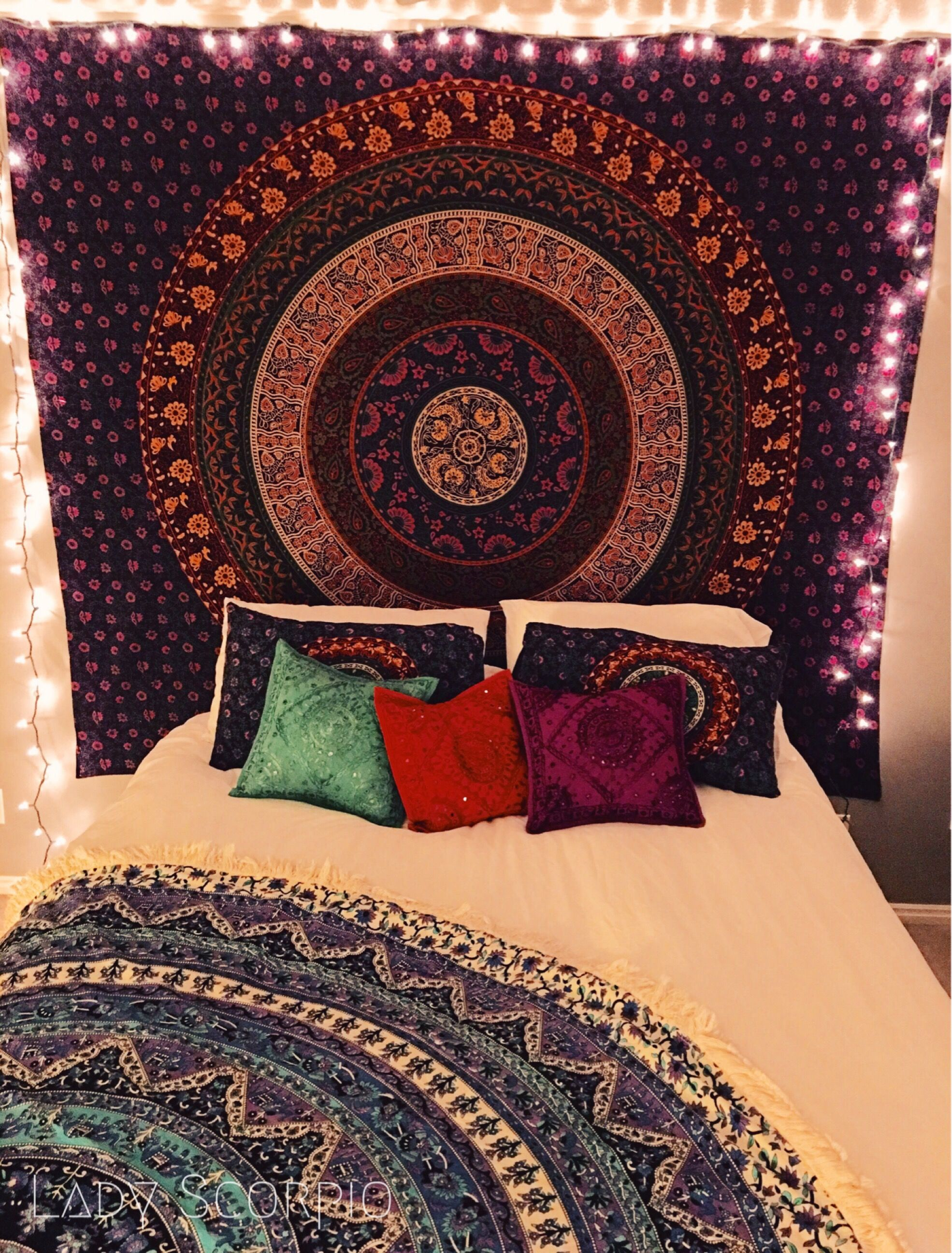 Lady Scorpio Bohemian Bedroom, Filled With Gypsy Mandala Tapestries