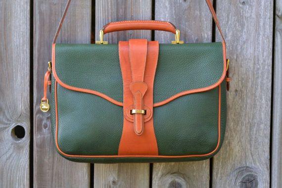 Vintage Dooney Bourke Briefcase Laptop Bag Green Leather