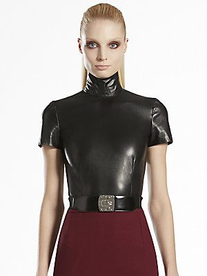 Gucci Black Leather High Neck Top