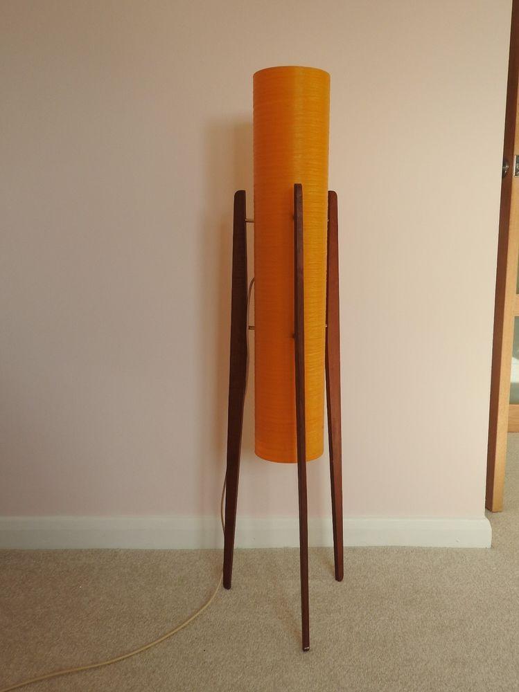 Vintage Mid Century 1960s Teak Orange Spun Fibreglass Rocket