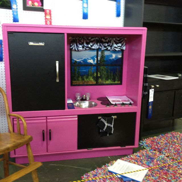 Entertainment Center Kitchen Set: Old Entertainment Center Turned Into Play Kitchen. Great
