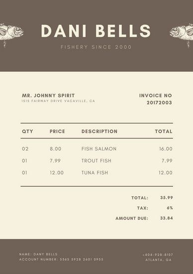Light Brown Fish Invoice Letterhead Stationary Design - invoice letterhead