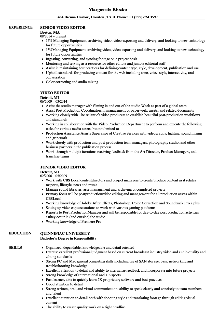 Resume Format Video Editor Resume Templates Project Manager Resume Good Resume Examples Resume Examples