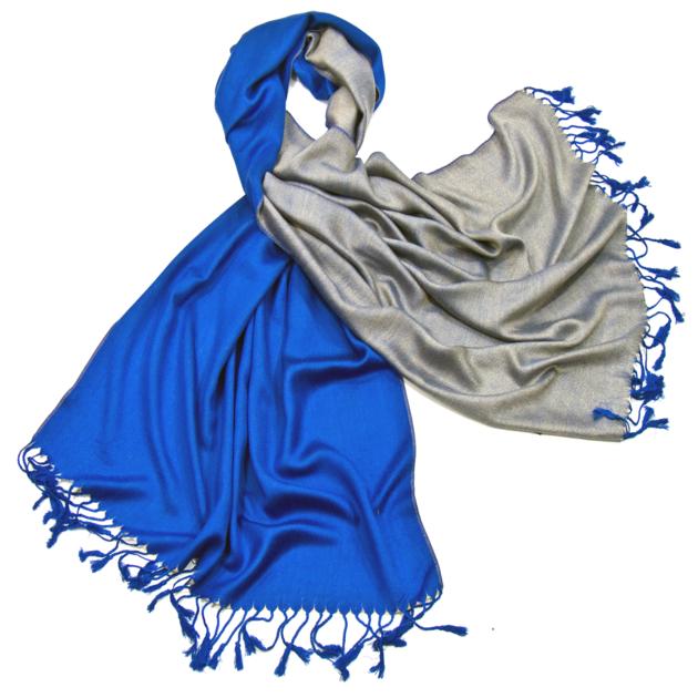 Etole pashmina bleu roi beige réversible - Etole Etole pashmina - Mes  Echarpes 861cc2481d9