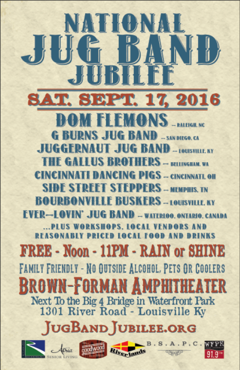 2016 – National Jug Band Jubilee--It looks like a talented line-up for a great day of music & fun!