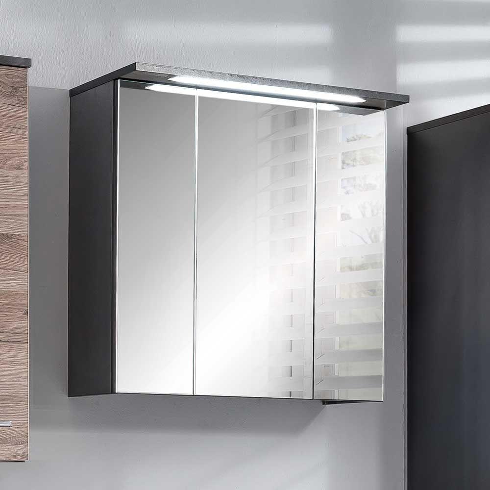 Badezimmer Spiegelschrank in Anthrazit LED Beleuchtung Jetzt ...