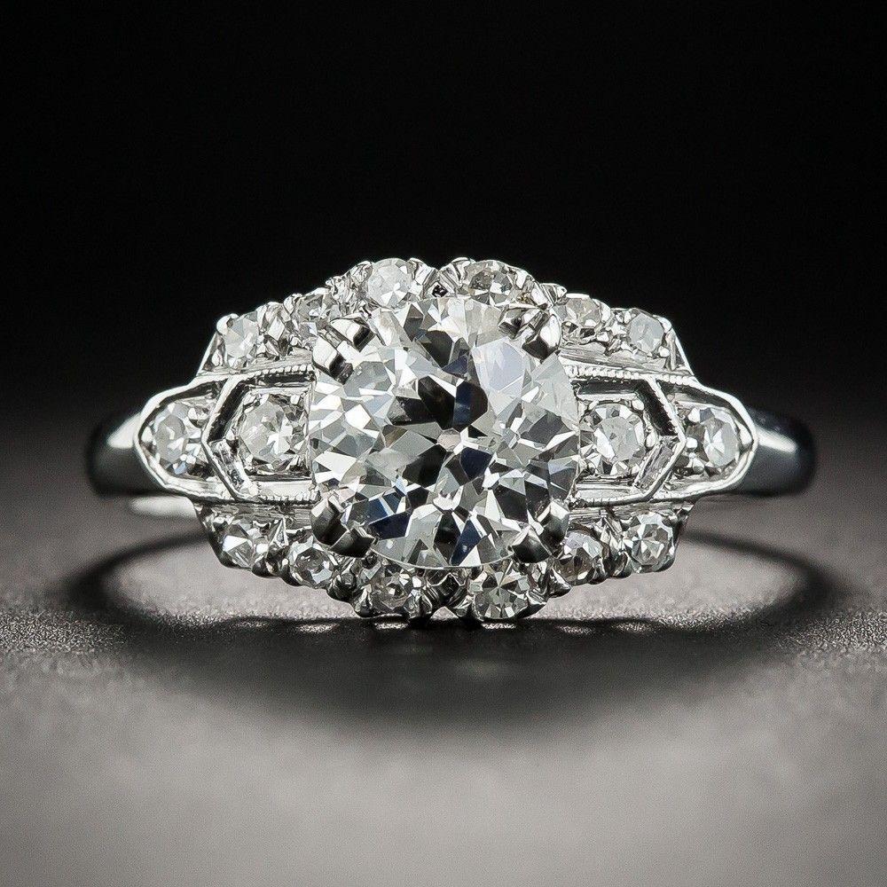 MidCentury 1.10 Carat Diamond Platinum Engagement Ring