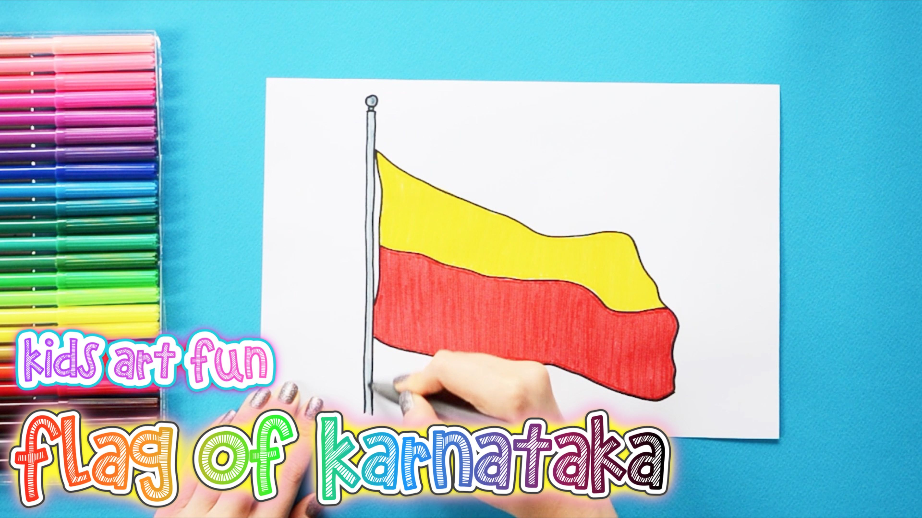 How To Draw And Color The Flag Of Karnataka Flag Drawing Flag Art For Kids