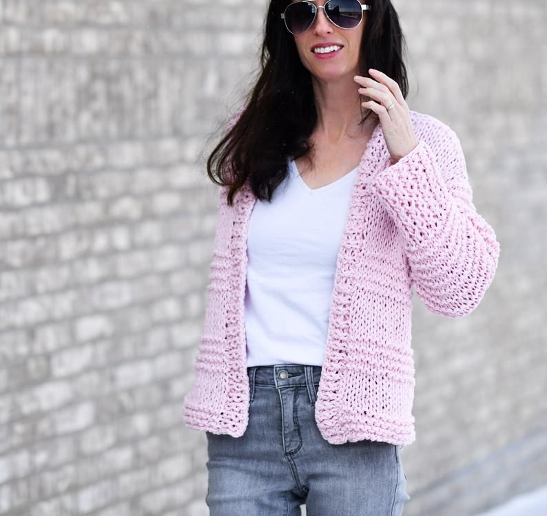 Cotton Candy Cardigan Beginner Knitting Pattern Easy Knit ...