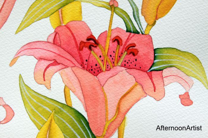 Dipinti Murali E Pittura Ad Ago : Pink lilies in watercolor close up view watercolor flowers