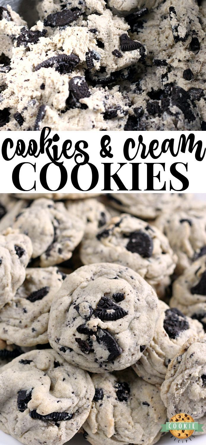 Family Cookie Recipes Cookies  Cream Cookies are made with pudding mix and Oreo cookies for a perfectly soft and chewy cookie that is sure to be a favorite from FAMILY CO...