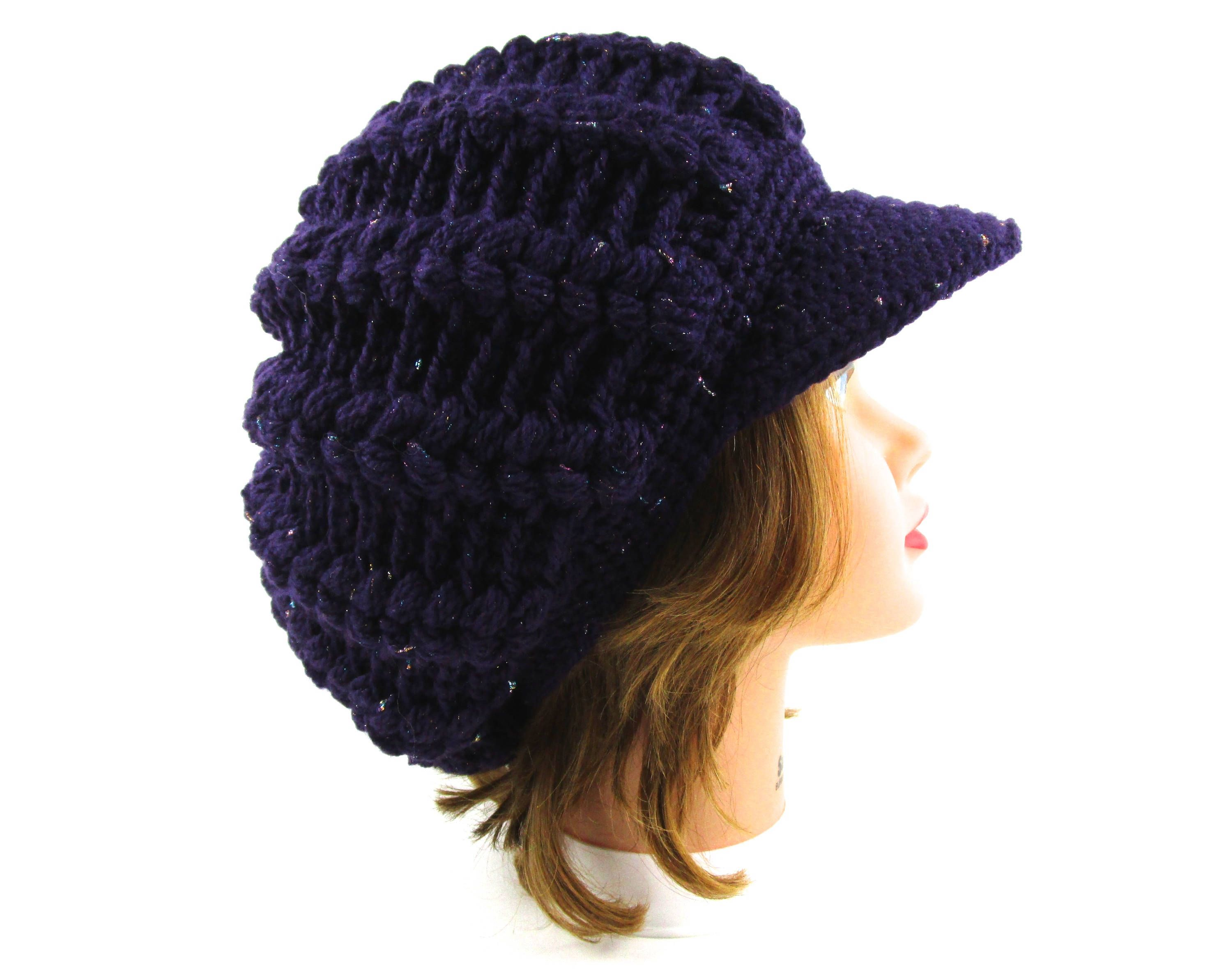 ade55051833 Purple Newsboy Hat - Crochet Cap - Slouchy Tam With Visor - Brimmed Beanie  - Women s
