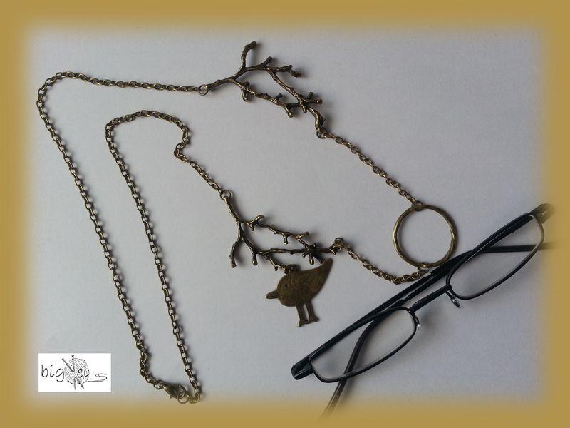 #Brillenkette Ast mit Vogel bronze #Brillenring von bigXel-Naturschmuck und Wollkunst auf DaWanda.com