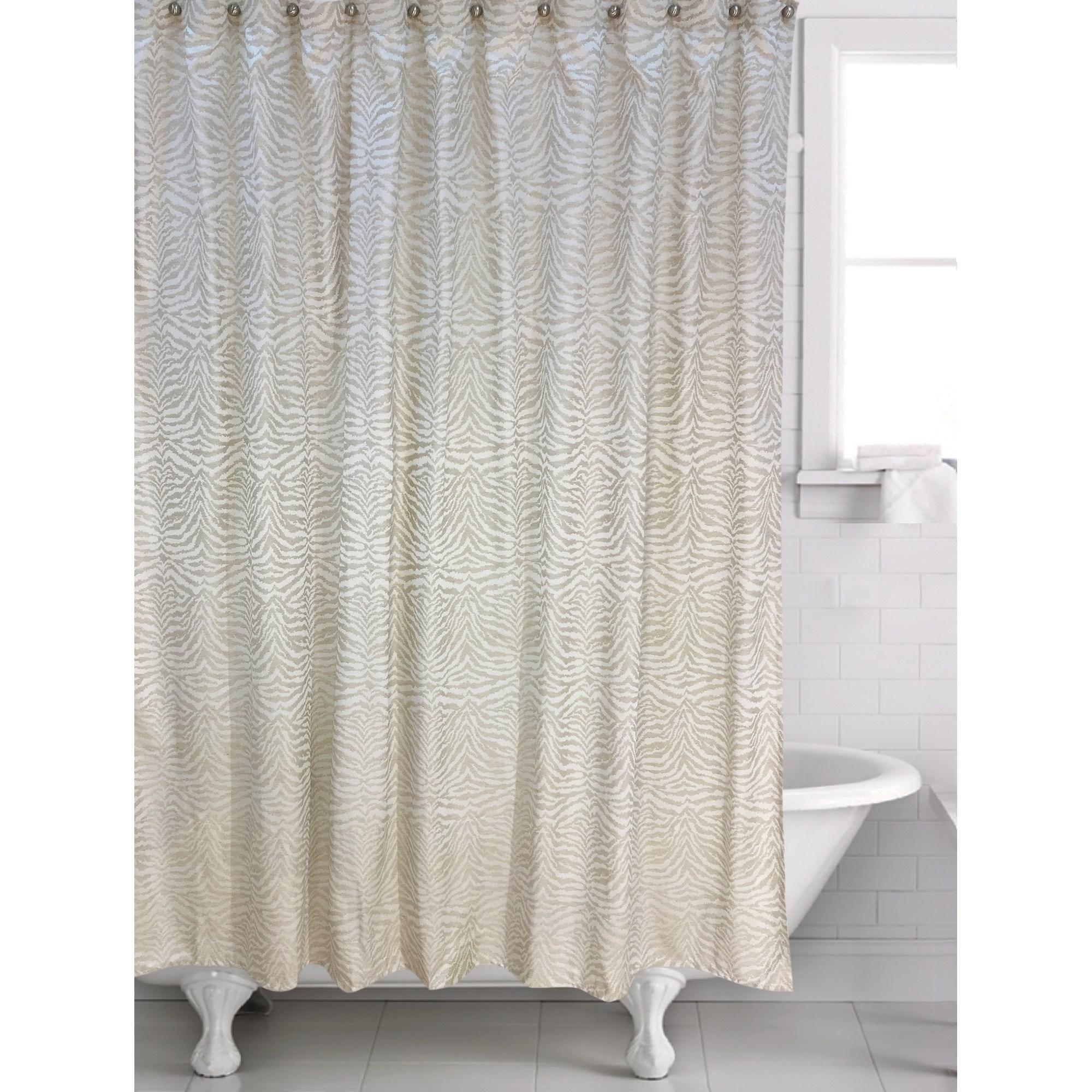 Zebra Shower Curtain 70 X 72 Machine Wash Brown Polyester