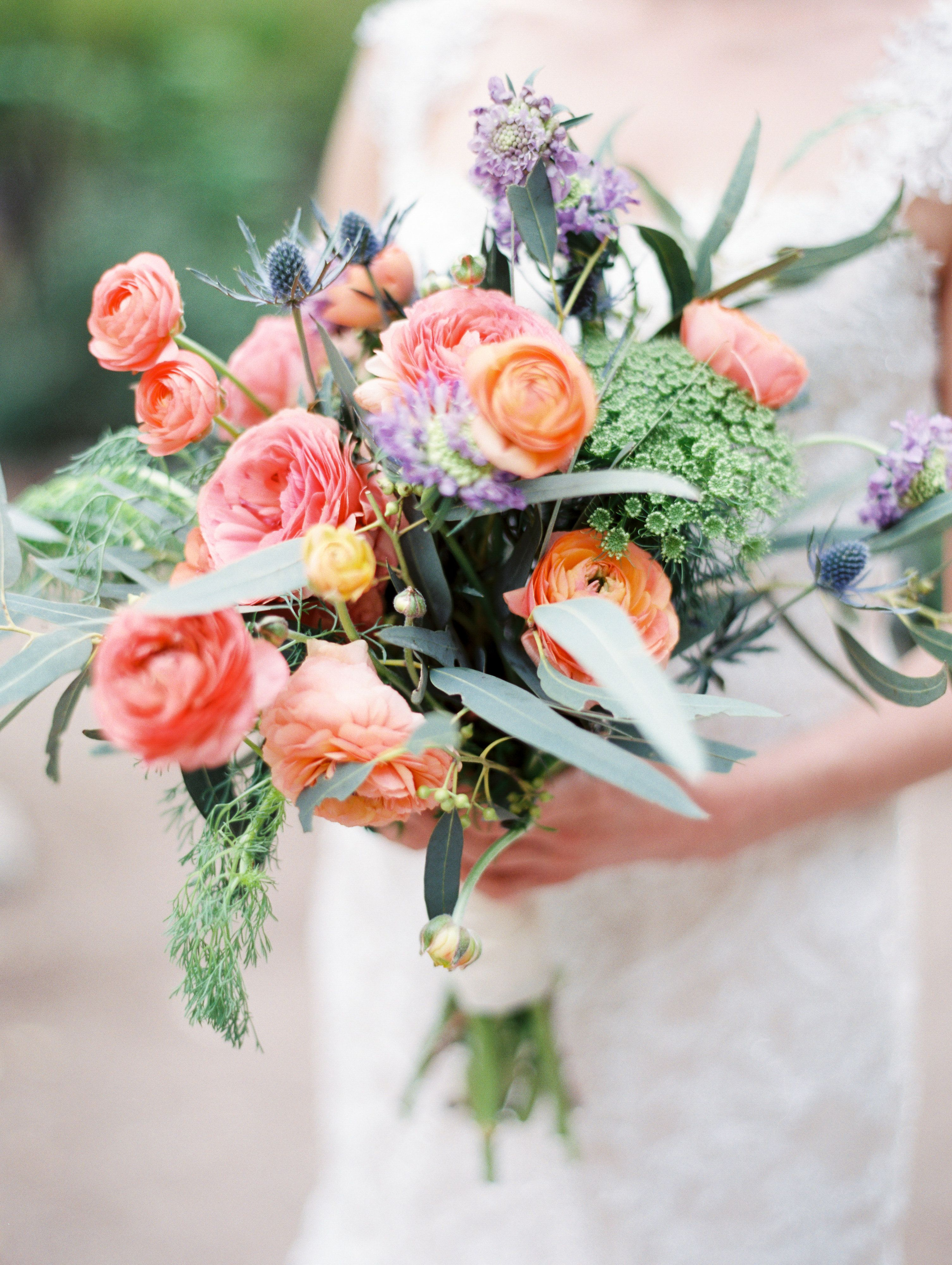 A Bright Rustic Wedding Bouquet By Cactus Flower Florists