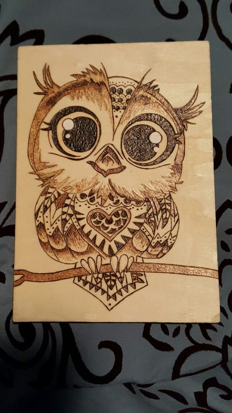 Owl wood burning #burnedwoodstenciling