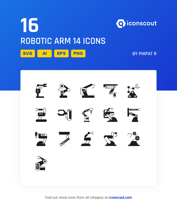 Download Robotic Arm 14 Icon Pack Available In Svg Png Eps Ai Icon Fonts Technology Icon Robot Arm Glyph Icon