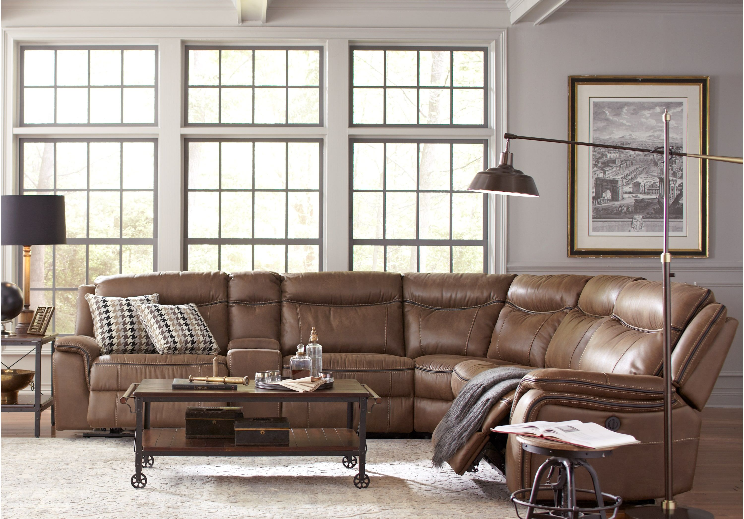 Pleasant Cindy Crawford Home Barton Springs Brown 6 Pc Sectional Caraccident5 Cool Chair Designs And Ideas Caraccident5Info