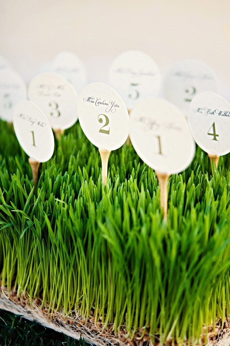 Golf inspired table place cards Photo by Celina