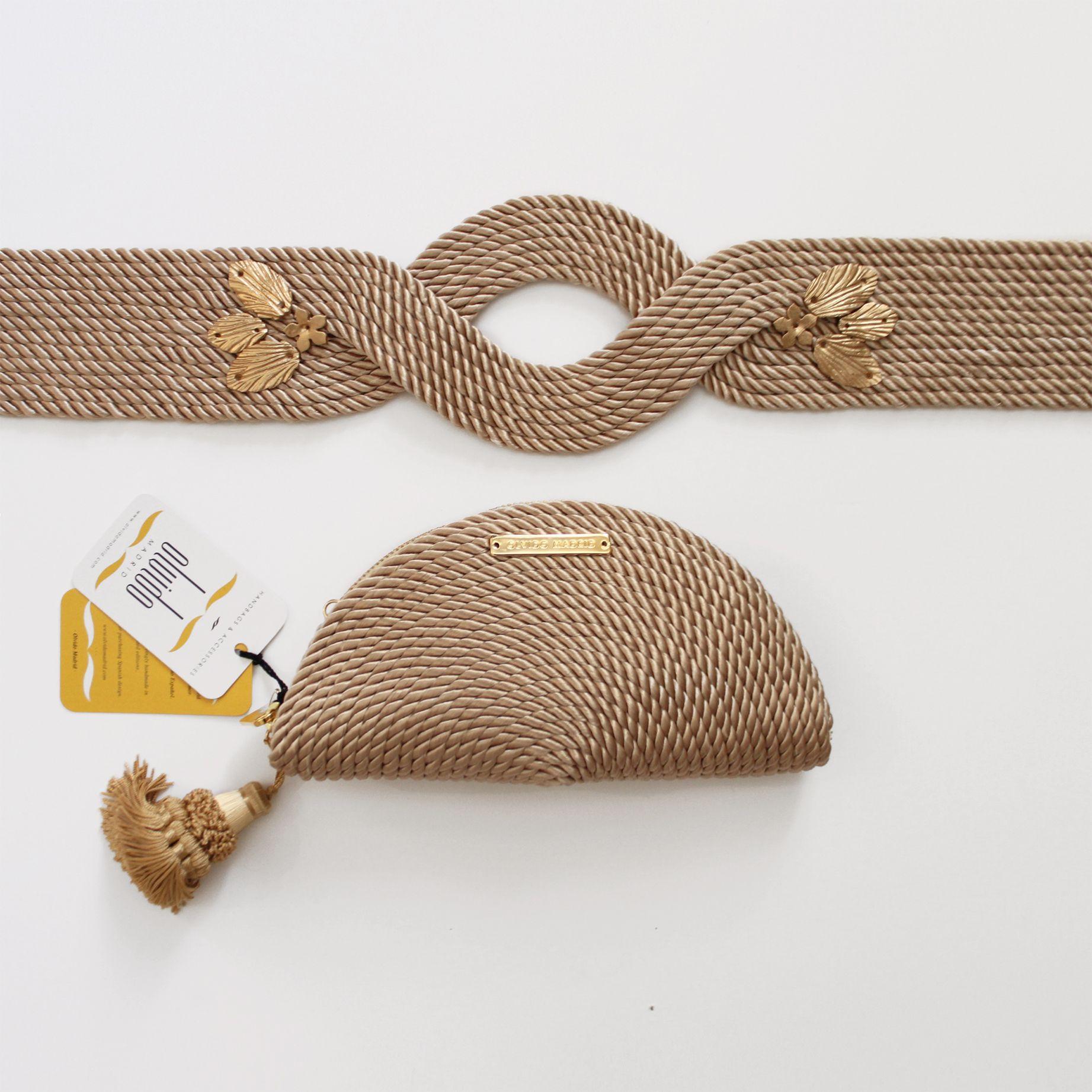 943e27594 Bolso de fiesta y cinturón hecho en cordón de seda | Modelo Carmen y Vega  nude | Diseños OLVIDO MADRID | www.olvidomadrid.es