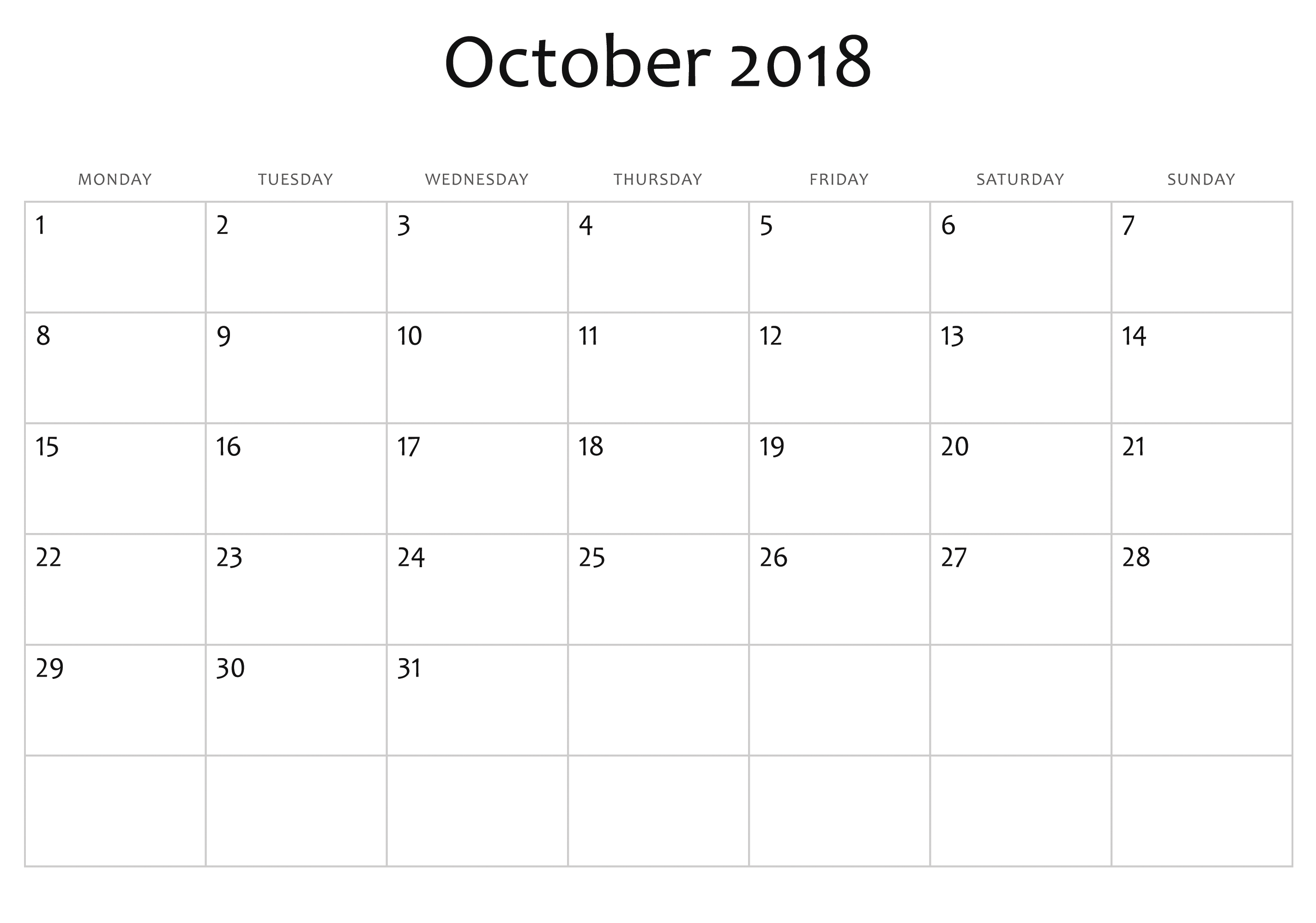 october 2018 calendar editable full